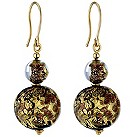 9ct yellow gold brown Venetian glass ball drop earrings - Product number 8710600