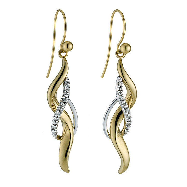 9ct yellow gold diamond drop earrings - Product number 8710759