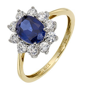 9ct Yellow Gold & Silver Created Sapphire Cluster Ring - Product number 8714576