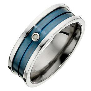 Tioro Men's Titanium Blue Diamond Set Ring - Product number 8715831