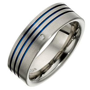Tioro Men's Titanium Blue 3 Stripe Diamond Set Ring - Product number 8715963