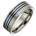 Tioro Men's Titanium Blue 3 Stripe Diamond Set Ring - Product number 8715963