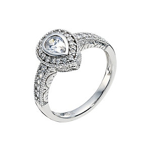 Silver pear shape cubic zirconia cluster ring - Product number 8716102