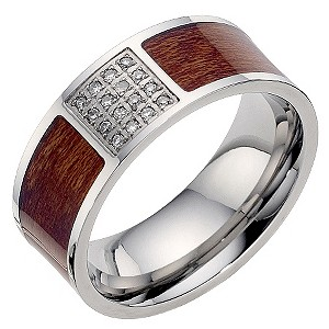 Men's stainless steel diamond & wooden ring - Product number 8717699