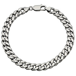Men's silver curb bracelet - Product number 8718253