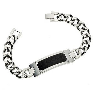 Stainless Steel & Black Cubic Zirconia ID Bracelet - Product number 8718385