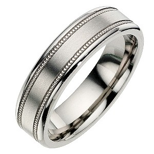 Titanium Milgrain Satin Ring - Product number 8718415