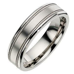 Titanium Milgrain Satin Ring