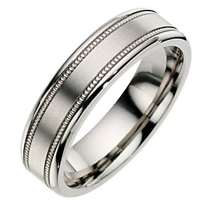 Titanium Milgrain Satin Ring - Product number 8718415