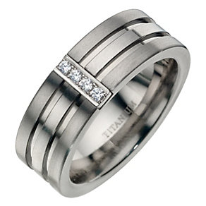 Titanium Diamond & Double Groove Ring - Product number 8718687