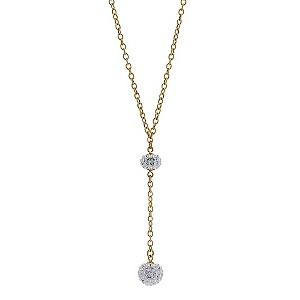 9ct Yellow Gold Two Crystal Glitter Ball Necklace