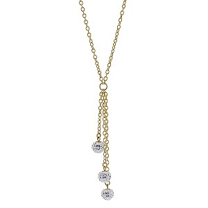 9ct Yellow Gold Three Crystal Glitter Ball Necklace