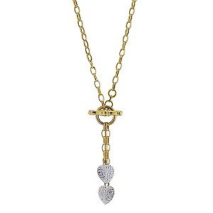9ct Yellow Gold Double Crystal Glitter Heart Necklace