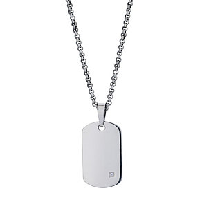 Titanium men's diamond set dog tag - Product number 8720819
