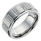 Titanium men's diamond set ring - Product number 8722595