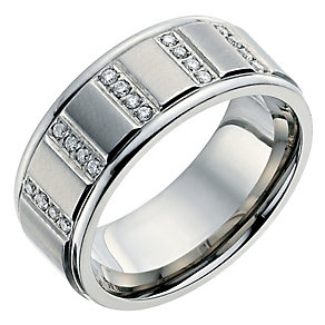 Titanium men's diamond set ring - Product number 8722595