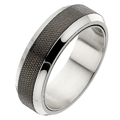 Polished steel and black matt center spinner ring