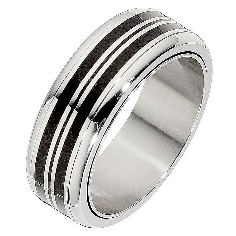 Steel and black stripy spinner ring
