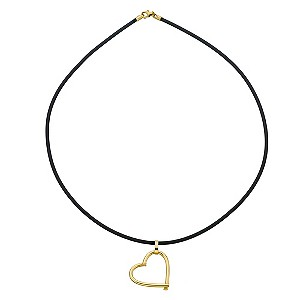 9ct Yellow Gold Open Heart Black Rubber Necklace