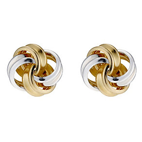 9ct Yellow Gold & Silver Knot Stud Earrings - Product number 8727465