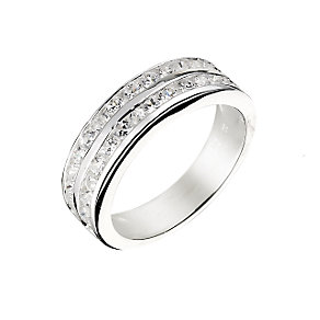 Silver two row cubic zirconia ring - Product number 8728003