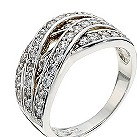 Silver cubic zirconia crossover ring - Product number 8728100