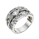 Silver cubic zirconia 3 row ring - Product number 8728208
