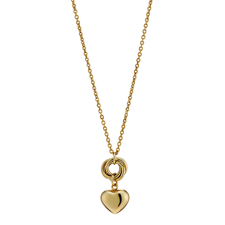 "9ct Yellow Gold 17"" Circle And Heart Pendant Necklace - Product number 8729417"