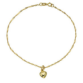 9ct Yellow Gold Heart Drop Kids Bracelet - Product number 8730148