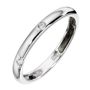 9ct White Gold Cubic Zirconia Band Ring
