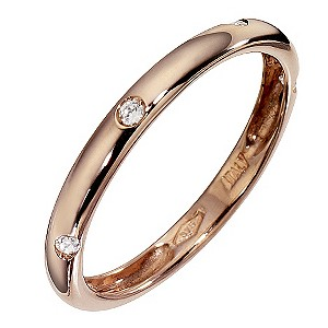 9ct Rose Gold Cubic Zirconia Band Ring