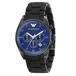 Emporio Armani men's black ion plated chronograph watch - Product number 8731756