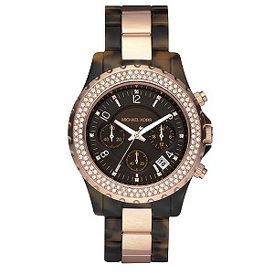 Michael Kors rose gold & tortoise shell chronograph watch - Product number 8732264