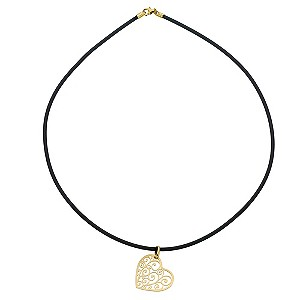 9ct Yellow Gold Filigree Heart Black Rubber Necklace