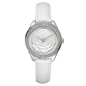 Guess Ladies'  White Rose Dial Strap Watch - Product number 8735115