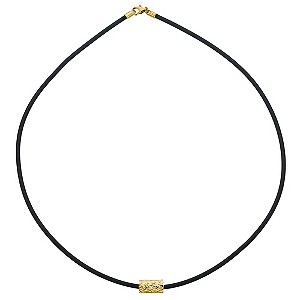 9ct Yellow Gold Diamond Cut Bead and Rubber Necklace