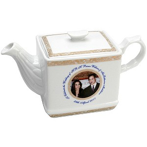 Exclusive Royal Wedding tea pot presented in royal blue box. The front of the tea pot features a picture of Prince William and Catherine Middleton and the wedding ...