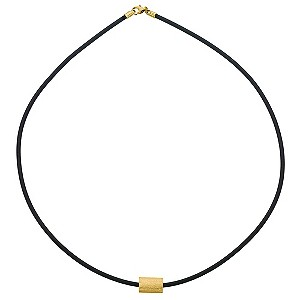 9ct Yellow Gold Matt Bead and Rubber Necklace