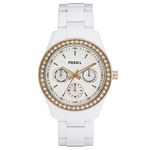 Fossil Ladies' Stone Set White Bracelet Watch - Product number 8741492