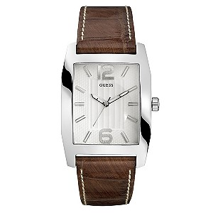 Guess Men's White Dial Brown Strap Watch - Product number 8742715