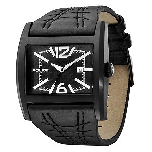 Men's Police Dynamo Black Leather Strap Watch - Product number 8743215