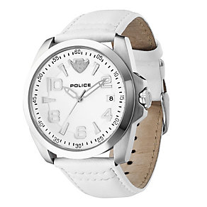 Men's Police White Leather Strap Watch - Product number 8743223