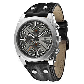 Men's Police Black Leather Strap Watch - Product number 8743258