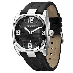 Men's Police Black Leather Strap Watch - Product number 8743266