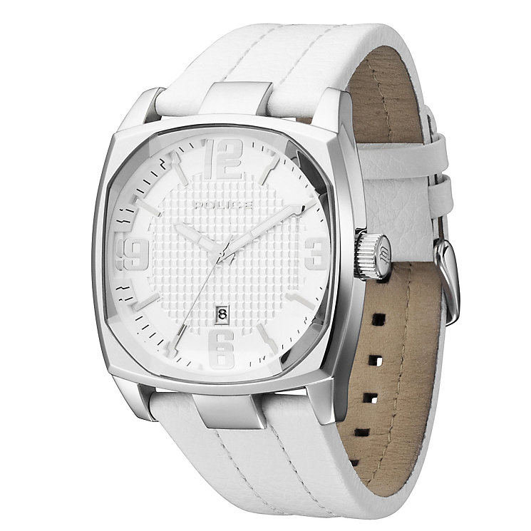 Men's Police White Leather Strap Watch - Product number 8743274