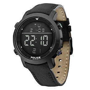 Men's Police Cyber Black Leather Strap Watch - Product number 8743339