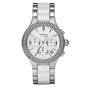 DKNY Ladies' White Ceramic & Stainless Steel Bracelet Watch - Product number 8745951