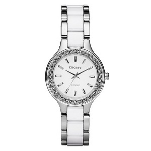 DKNY Ladies' White Ceramic & Stainless Steel Bracelet Watch - Product number 8746079