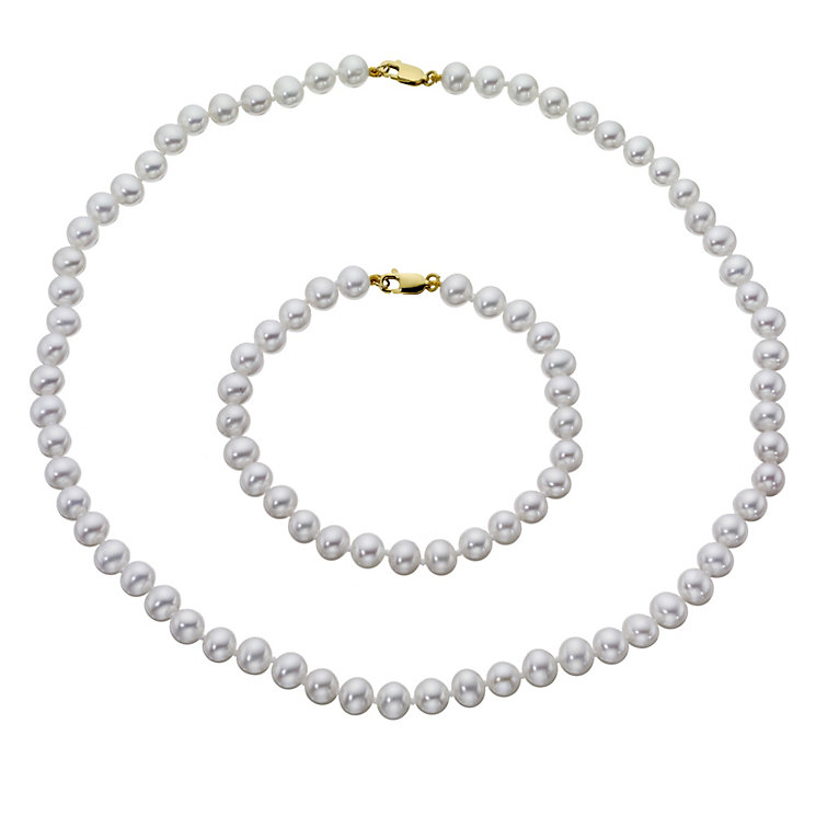 Cultured freshwater pearl bracelet & necklace set - Product number 8746389