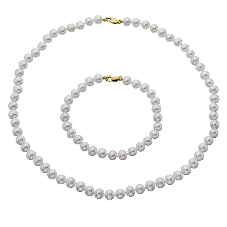 Cultured freshwater pearl bracelet & necklace set - Product number 8746389